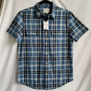 NWT LUCKY BRAND Short sleeve button up blue plaid